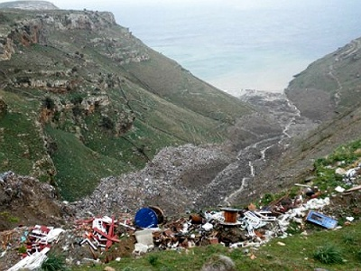 Andros island illegal waste dump