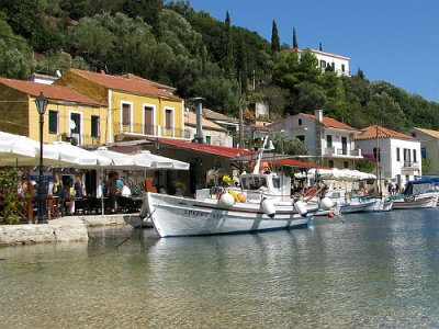 Attractive harbour at Kioni ithaca