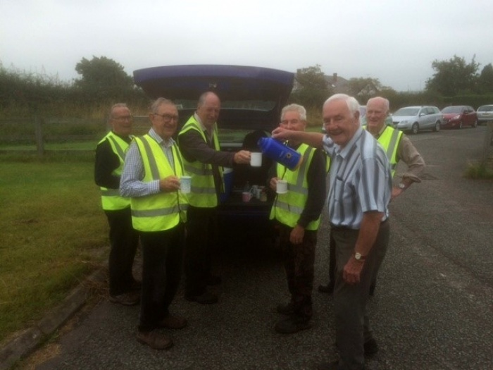 Bryan Evans takes refreshment to Woodland Trust Volunteers