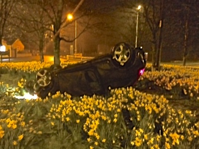 Car on roundabout