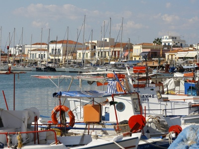 Colourful harbour at Aegina