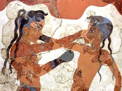Detail of Akrotiri fresco