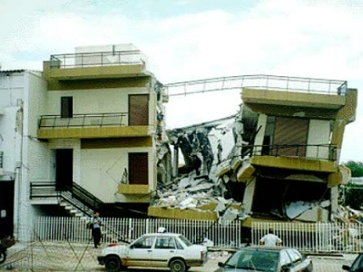 Earthquake damage in Greece
