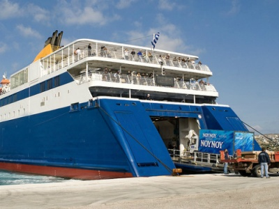 Greek Island ferry unloading on Paros
