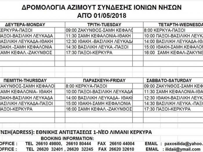 Ferry timetable Ionian islands