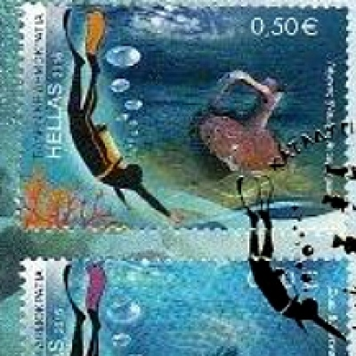 greek stamps diving