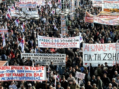 Greek strikers protest in Athens