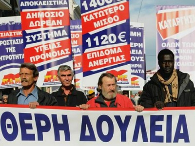 Greek transport workers on strike