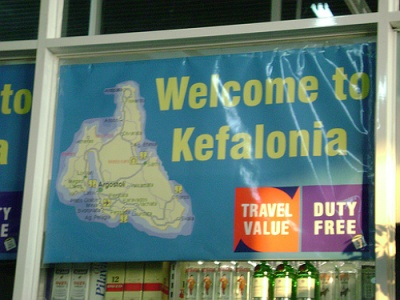 Kefalonia airport sign