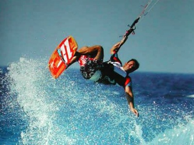 Kitesurfer on Rhodes Greece
