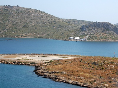 Leros airport takeoff