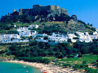Lindos castle and beach Rhodes