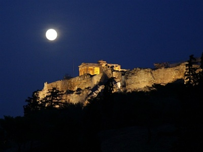 Moon over the Acropolis Athens