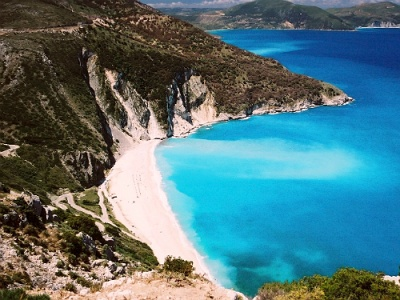 Myrtos beach on Kefalonia