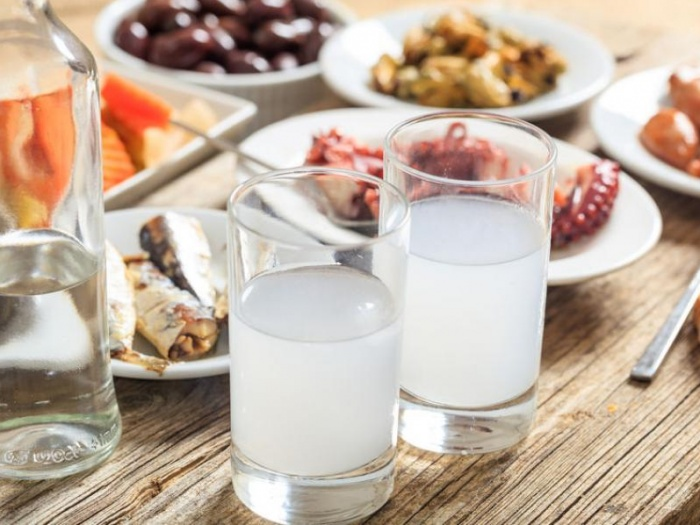 Ouzo glasses on taverna table