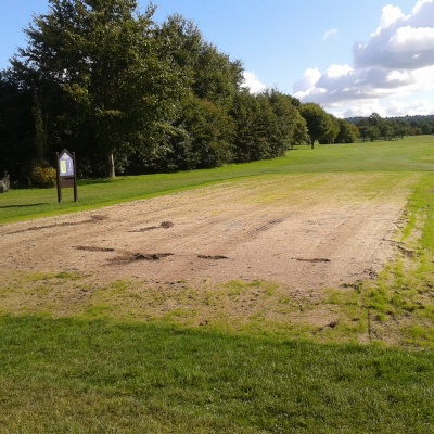 Pryors Hayes Grass starting to on new 1st tee