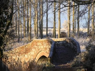 Roman Bridge in frost
