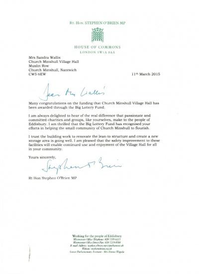 S O'Brien MP letter