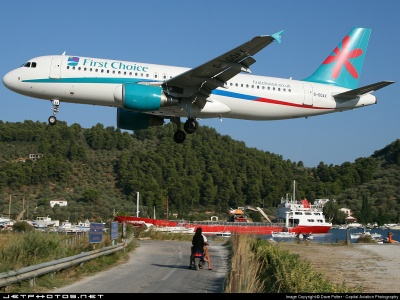 Holiday plane landing at Skiathos