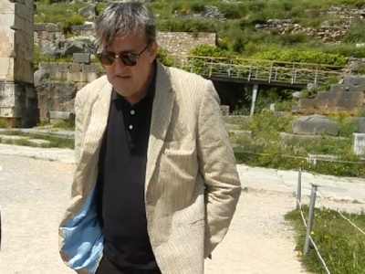 Stephen Fry on holiday in Delphi