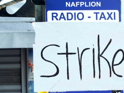 Striking taxi drivers