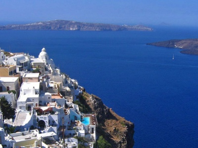 The caldera of Santorini Greece