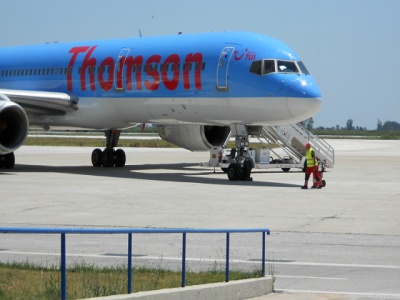 thomson airplane on runway