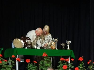THS 2017 Sue Hardacre Getting Instructions for Awarding the Winners Trophies