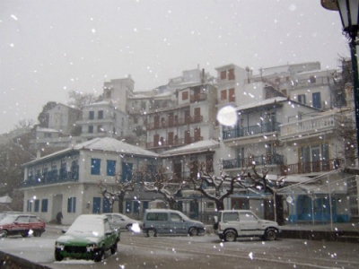 Winter snowstorm on Skopelos