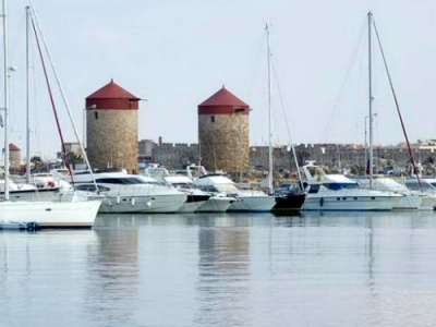 Yachts moored in Rhodes