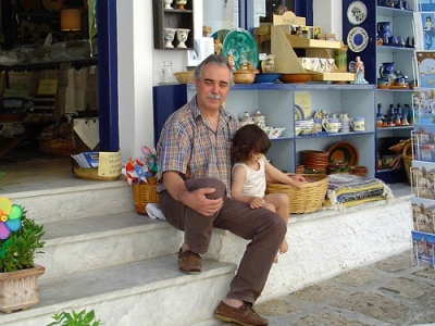 Yiannis outside his Samos shop